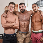 MUSCLE GAY PORN STAR RICKY LARKIN DEMANDS BOTH SCENE PARTNERS TAKE A BIG RIDE & HOLD ON FOR THEIR OWN SAFETY