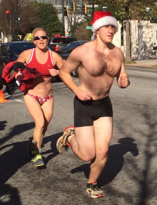 SOUTHERN DUDES STRIP TO THEIR UNDERWEAR FOR ATLANTA'S SANTA SPEEDO RUN- SANTA SHOWS OFF HIS OWN PACKAGE