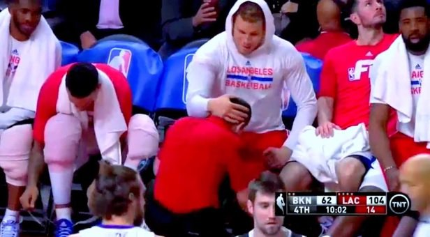LA CLIPPERS' BLAKE GRIFFIN FORCES MALE TRAINER TO SIMULATE SEX ACT LIVE ON TV