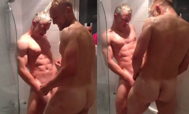 ICYMI: TWO HOT MUSCLE DUDES HAVING DICK SWORD FIGHT IN SHOWER ON VINE