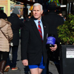 MIKE PENCE LOOK-A-LIKE TAKES TO TIMES SQUARE TO CONFRONT THE ISSUES OF THE DAY- FUTURE RUN FOR OFFICE?- ALL IN HIS UNDERWEAR