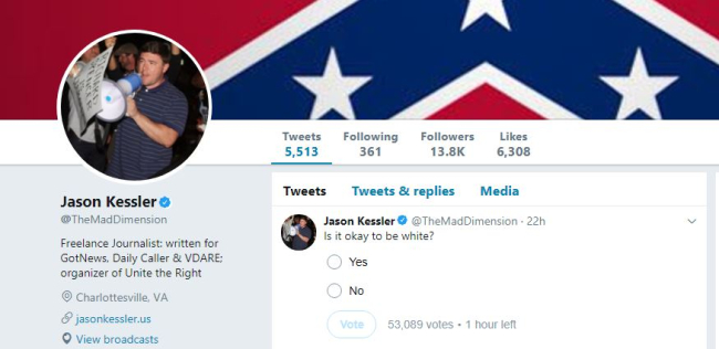 TWITTER GIVES A WHITE SUPREMACIST LEADER THEIR BLUE VERIFICATION BADGE WHICH IS MEANT TO INDICATE AN ENDORSEMENT