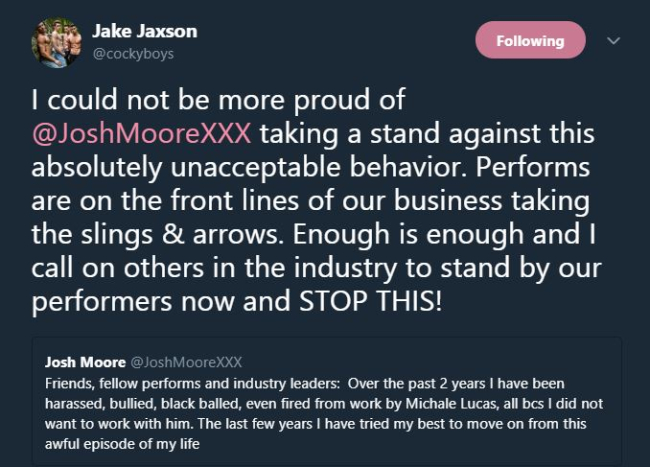 COCKYBOYS JAKE JAXTON BREAKS HIS SILENCE ON THE TREATMENT OF THEIR  EXCLUSIVE JOSH MOORE AND INDUSTRY MODELS